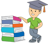 boy wearing graduation cap with stack of books clipart
