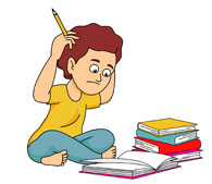 boy confused with lots of homework clipart