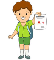student showing his good grade clipart