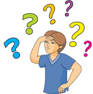 boy surrounded by question marks clipart