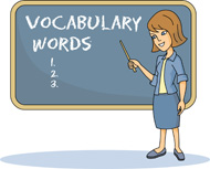 Teacher at Chalkboard Vocabulary Words Clipart